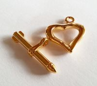 Gold Plated Heart and Arrow Toggle Clasp - for jewellery making and beadwork